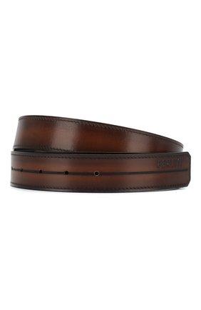 Мужской кожаный ремень BERLUTI коричневого цвета, арт. CS002-004 | Фото 1