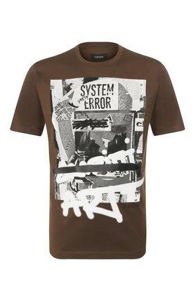 Мужская хлопковая футболка Z ZEGNA хаки цвета, арт. VT372/ZZ630L | Фото 1