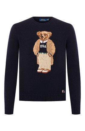 Мужской шерстяной свитер POLO RALPH LAUREN темно-синего цвета, арт. 710766111 | Фото 1