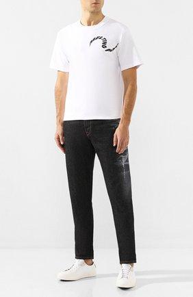 Мужская хлопковая футболка SACAI белого цвета, арт. 19-0004S   Фото 2