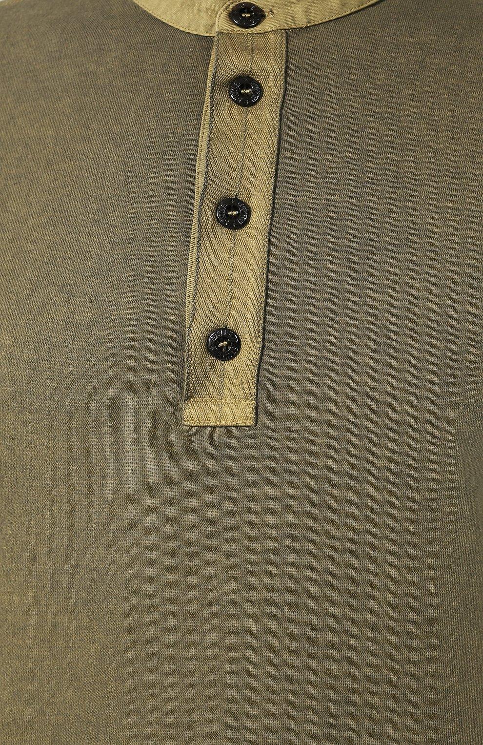 Мужская хлопковый лонгслив STONE ISLAND хаки цвета, арт. 711520442 | Фото 5