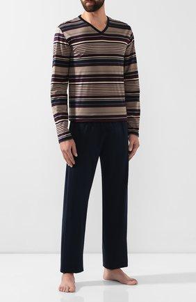 Мужская хлопковая пижама HANRO темно-синего цвета, арт. 075156 | Фото 1