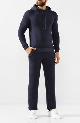 Мужской брюки из смеси шерсти и кашемира CRUCIANI синего цвета, арт. CU20.054 | Фото 2