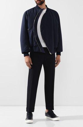 Мужские кожаные кеды BERLUTI темно-синего цвета, арт. S4913-003 | Фото 2