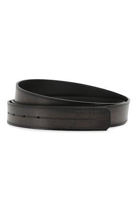 Мужской кожаный ремень BERLUTI черного цвета, арт. CS002-003 | Фото 1