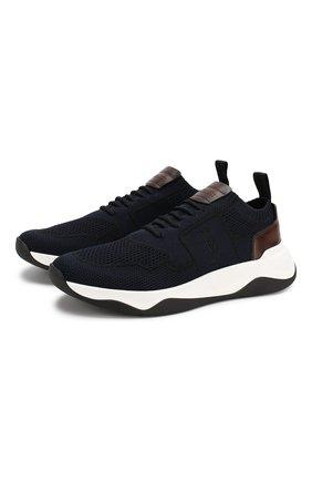Мужские текстильные кроссовки BERLUTI темно-синего цвета, арт. S4918-001 | Фото 1