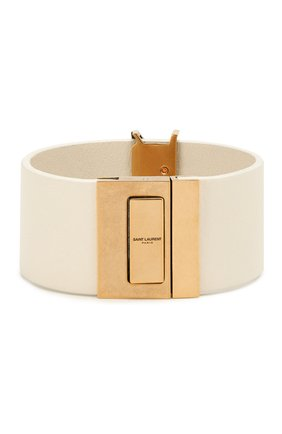 Женский кожаный браслет SAINT LAURENT белого цвета, арт. 586801/BL40W | Фото 2