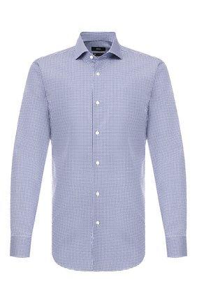 Мужская хлопковая рубашка BOSS синего цвета, арт. 50415952   Фото 1