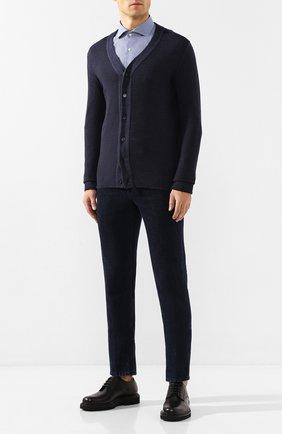 Мужская хлопковая рубашка BOSS синего цвета, арт. 50415952   Фото 2