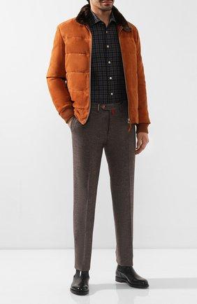 Мужской шерстяные брюки KITON коричневого цвета, арт. UFPP79K01S48   Фото 2