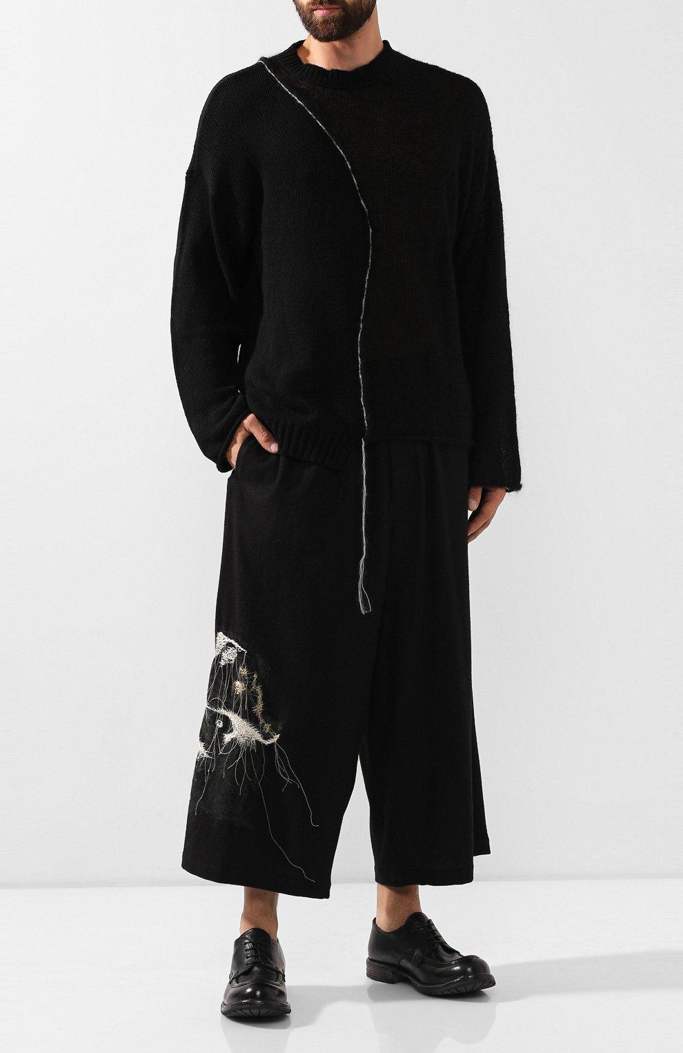 Мужские шерстяные брюки YOHJI YAMAMOTO черного цвета, арт. HC-P71-514 | Фото 2