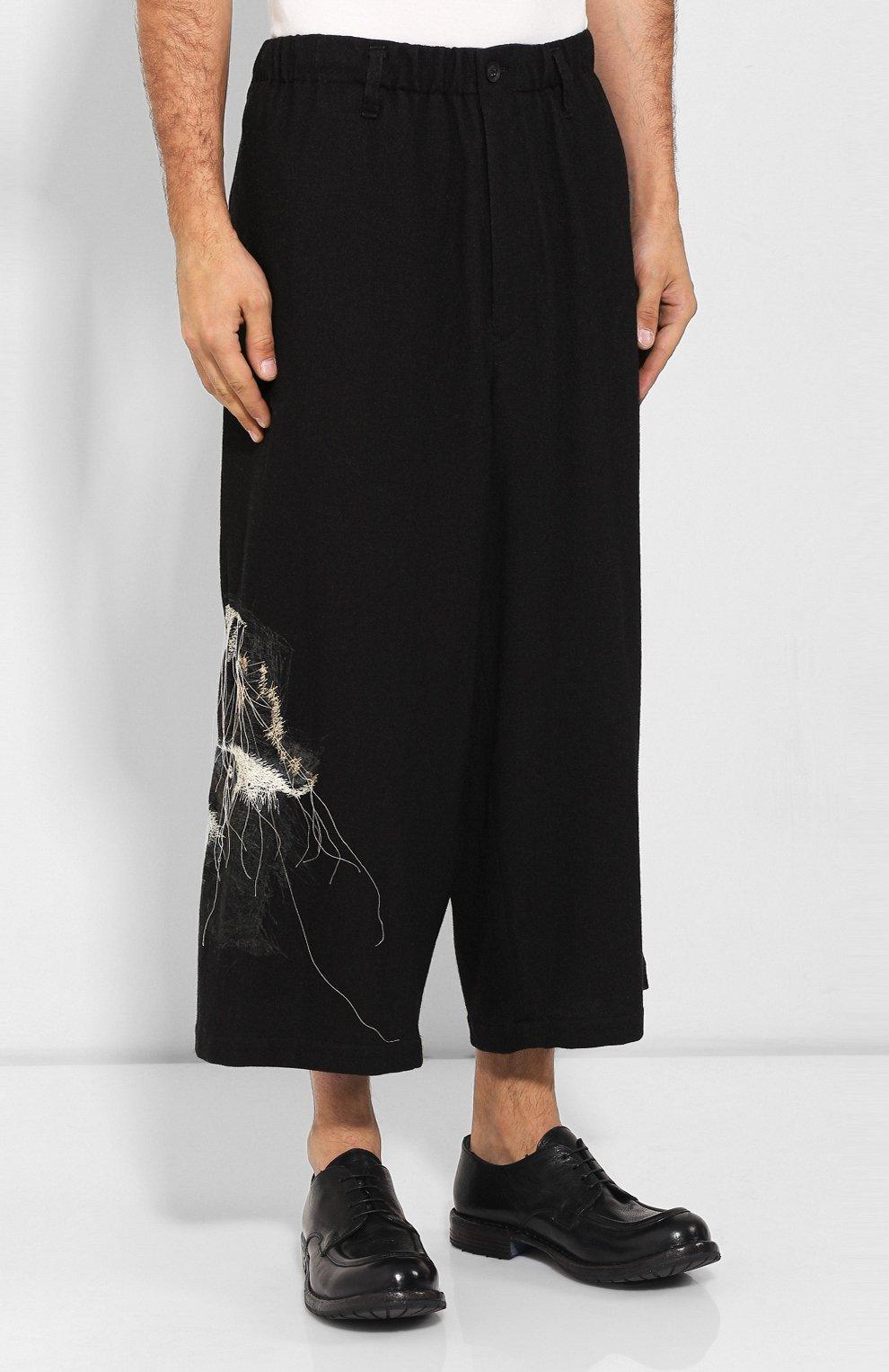 Мужские шерстяные брюки YOHJI YAMAMOTO черного цвета, арт. HC-P71-514 | Фото 3