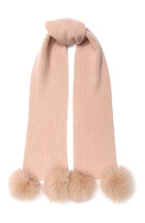 Кашемировый шарф с меховой отделкой | Фото №1