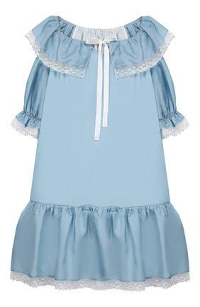 Детская сорочка из хлопка и шелка AMIKI CHILDREN голубого цвета, арт. ELIZABETH | Фото 1