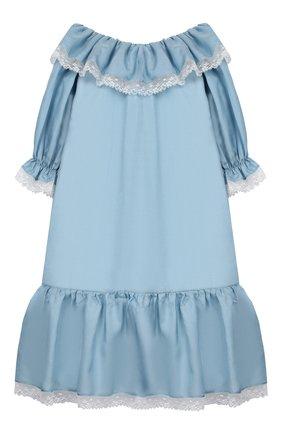 Детская сорочка из хлопка и шелка AMIKI CHILDREN голубого цвета, арт. ELIZABETH | Фото 2