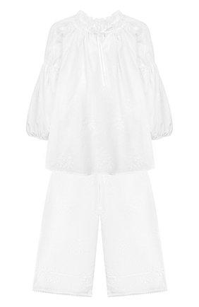 Детская хлопковая пижама AMIKI CHILDREN белого цвета, арт. J0SEPHINA | Фото 1