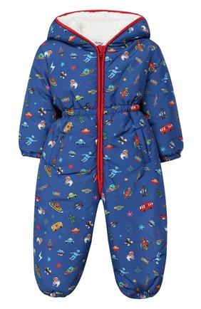 Детский комбинезон с капюшоном ALETTA синего цвета, арт. R999056ST/1M-2A | Фото 1