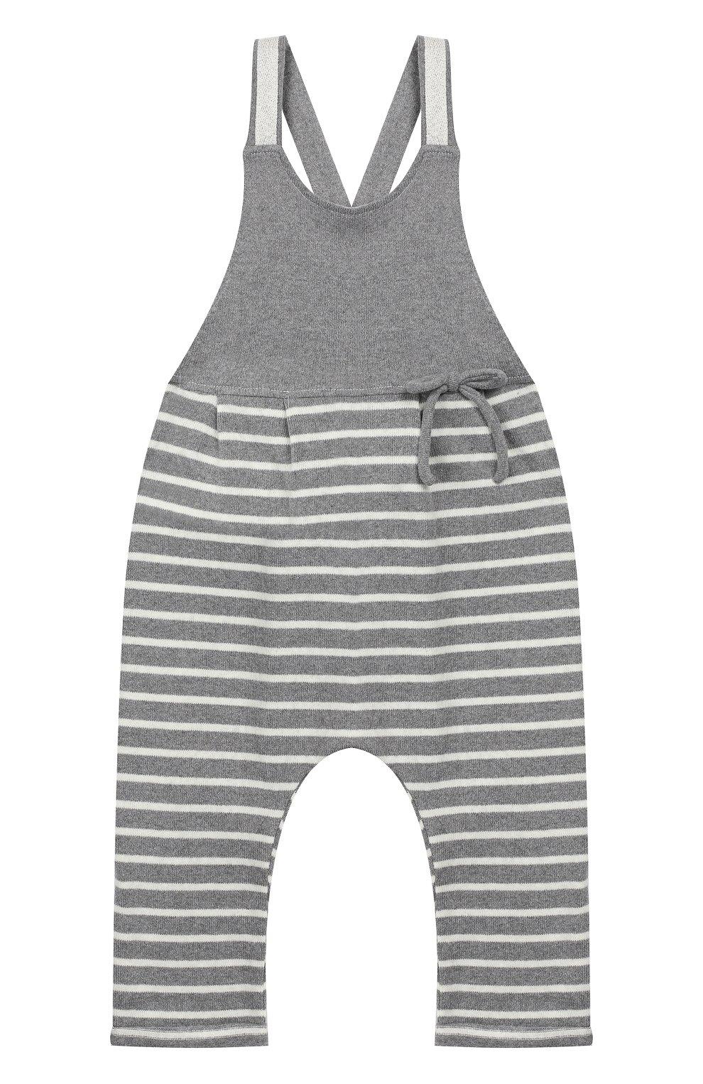Детский хлопковый комбинезон ALETTA серого цвета, арт. RW999243/1M-2A | Фото 1