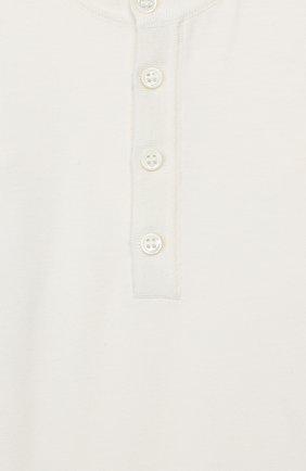 Детское хлопковое боди LORO PIANA белого цвета, арт. FAI7577 | Фото 3
