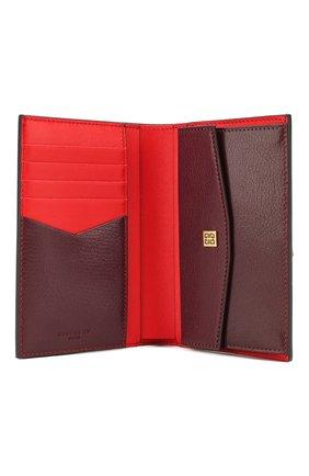 Женские кожаный кошелек gv3 GIVENCHY бордового цвета, арт. BB601GB056 | Фото 3