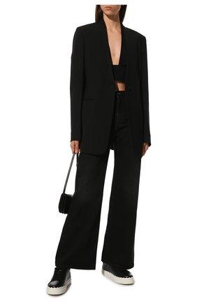 Женские кожаные кеды lauren CHLOÉ черного цвета, арт. CHC19S10842 | Фото 2