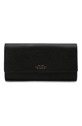 Женские кожаный кошелек SMYTHSON черного цвета, арт. 1024560   Фото 1