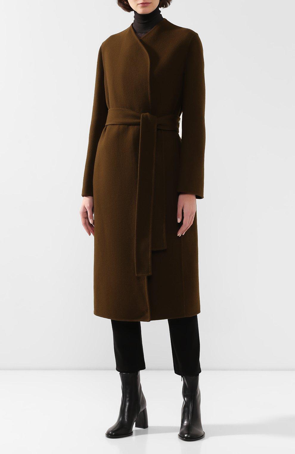 Женское пальто из смеси шерсти и кашемира THE ROW хаки цвета, арт. 4568W1439 | Фото 3