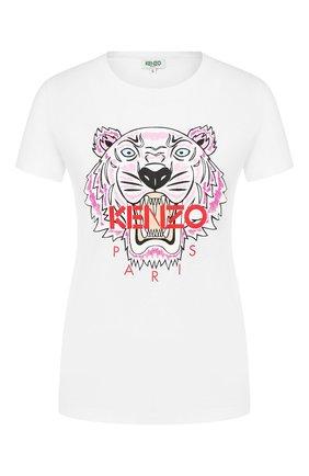 Женская хлопковая футболка KENZO белого цвета, арт. F962TS7214YB | Фото 1