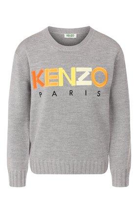 Женская шерстяной пуловер KENZO серого цвета, арт. F962T0618808 | Фото 1