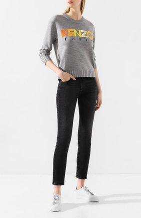 Женская шерстяной пуловер KENZO серого цвета, арт. F962T0618808 | Фото 2