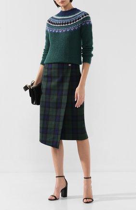 Женская шерстяная юбка WEILL зеленого цвета, арт. 112108 | Фото 2 (Статус проверки: Проверено; Материал подклада: Синтетический материал; Длина Ж (юбки, платья, шорты): Миди; Материал внешний: Шерсть)