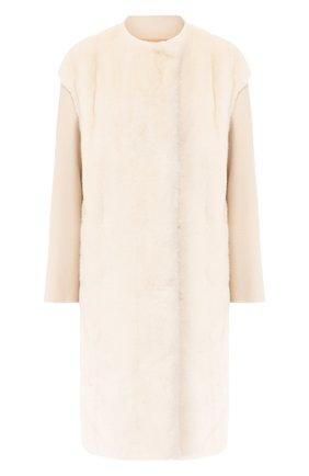 Женское пальто с меховой отделкой YVES SALOMON белого цвета, арт. 20WYM00705CAVI | Фото 1
