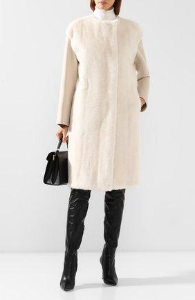 Женское пальто с меховой отделкой YVES SALOMON белого цвета, арт. 20WYM00705CAVI | Фото 2