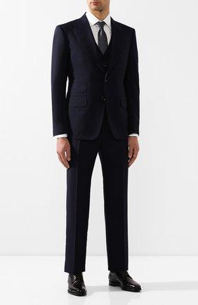 Мужской шерстяной костюм-тройка TOM FORD синего цвета, арт. 611R03/31AL43 | Фото 1