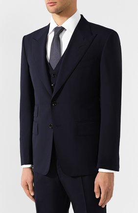 Мужской шерстяной костюм-тройка TOM FORD синего цвета, арт. 611R03/31AL43 | Фото 2