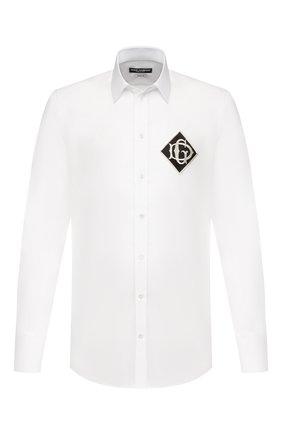 Мужская хлопковая сорочка DOLCE & GABBANA белого цвета, арт. G5EJ0Z/GEL32 | Фото 1