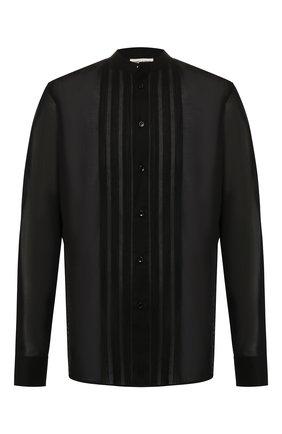 Мужская хлопковая рубашка SAINT LAURENT черного цвета, арт. 575202/Y001R | Фото 1