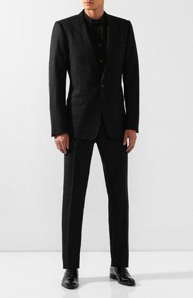 Мужская хлопковая рубашка SAINT LAURENT черного цвета, арт. 575202/Y001R | Фото 2