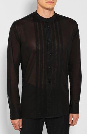 Мужская хлопковая рубашка SAINT LAURENT черного цвета, арт. 575202/Y001R | Фото 3