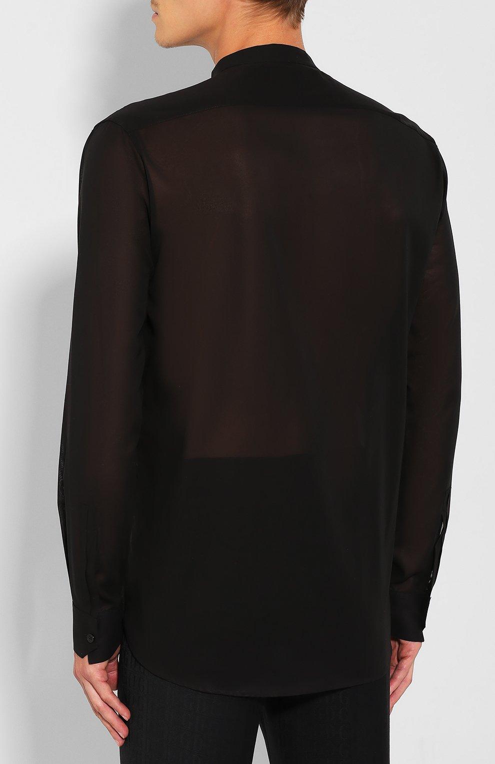Мужская хлопковая рубашка SAINT LAURENT черного цвета, арт. 575202/Y001R | Фото 4