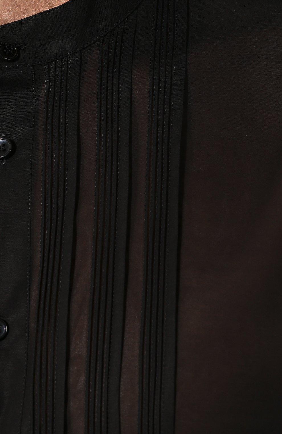 Мужская хлопковая рубашка SAINT LAURENT черного цвета, арт. 575202/Y001R | Фото 5