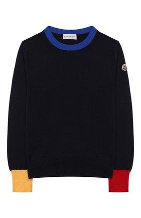 Детский шерстяной пуловер MONCLER ENFANT синего цвета, арт. E2-954-90077-05-A9214/12-14A | Фото 1