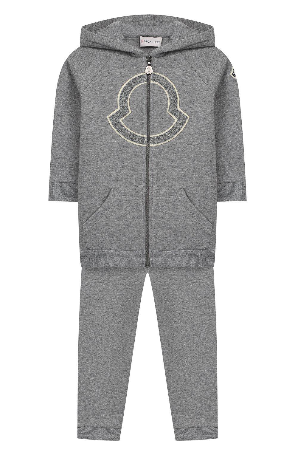 Детский комплект из толстовки и брюк MONCLER серого цвета, арт. E2-951-88607-50-80996   Фото 1