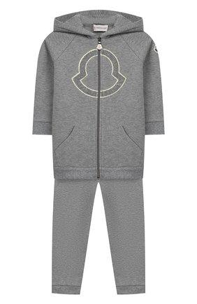 Детский комплект из толстовки и брюк MONCLER серого цвета, арт. E2-951-88607-50-80996 | Фото 1
