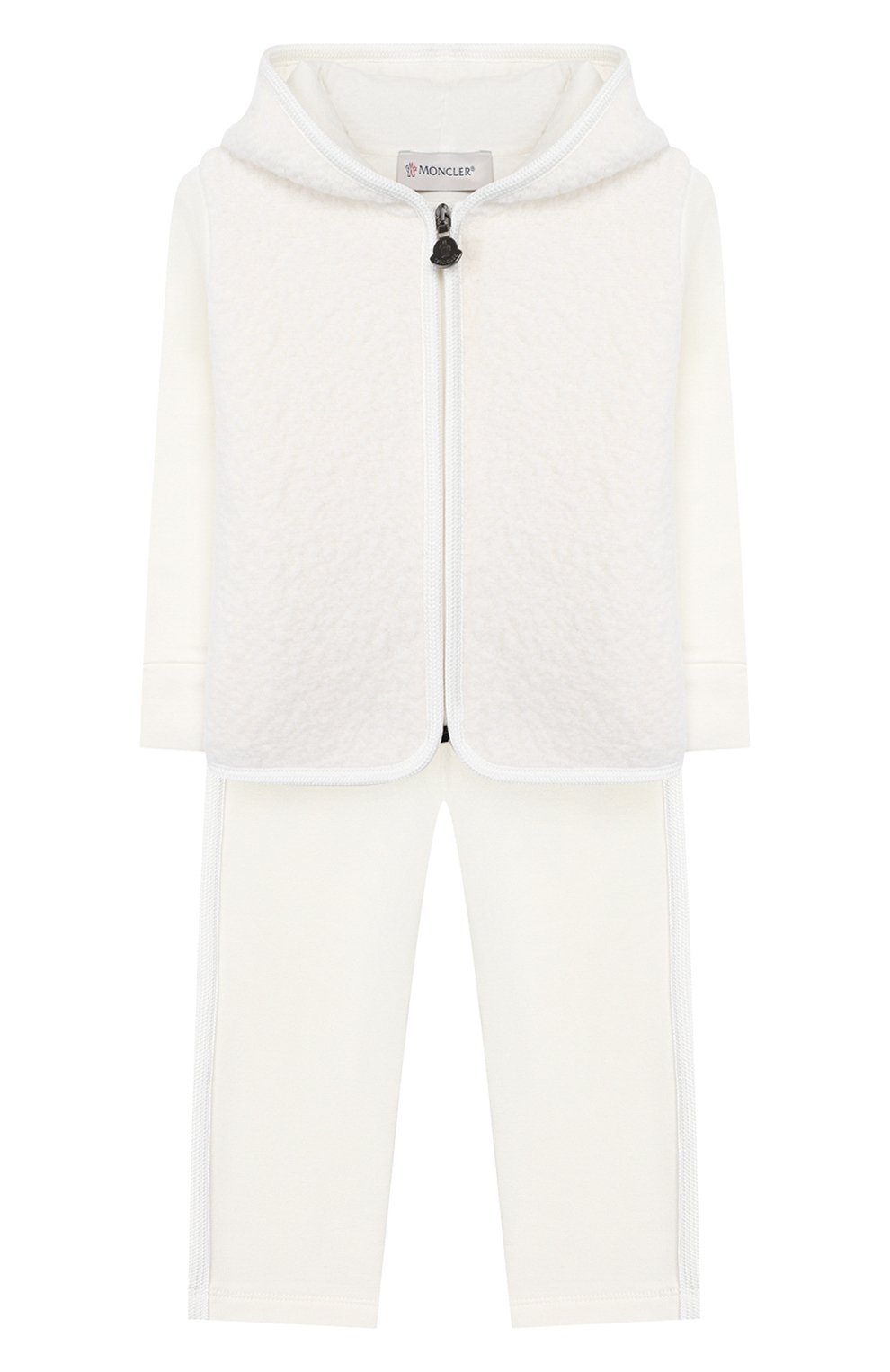 Детский комплект из толстовки и брюк MONCLER белого цвета, арт. E2-951-88556-05-80996 | Фото 1