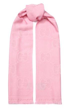 Мужские шерстяной шарф GUCCI розового цвета, арт. 581537/3G200 | Фото 1