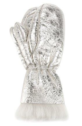 Женские меховые варежки YVES SALOMON серебряного цвета, арт. 20WAA325XXMET0 | Фото 1