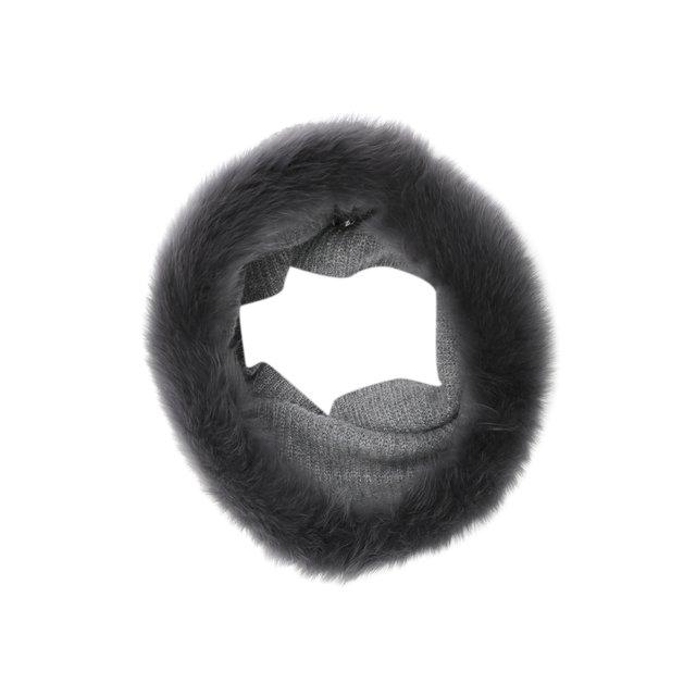 Кашемировый шарф-снуд с мехом лисицы Yves Salomon