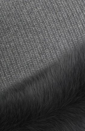 Мужские кашемировый шарф-снуд с мехом лисицы YVES SALOMON серого цвета, арт. 20WAA505XXCARD | Фото 2