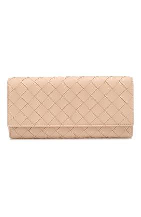 Женские кожаный кошелек BOTTEGA VENETA бежевого цвета, арт. 591685/V00BM   Фото 1